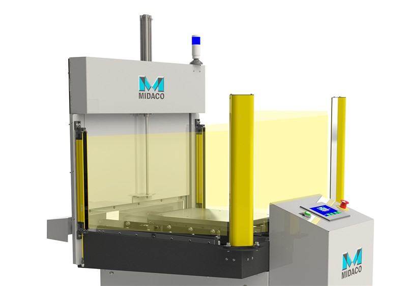 CE Light Curtain All models of the Automatic Pallet Changer System are available with a Light Curtain package (meets CE compliance). With 3-sided guarding via a light emitter, mirrors and sensors, a pallet change will not occur if the invisible light beams surrounding the shuttle system are breached.
