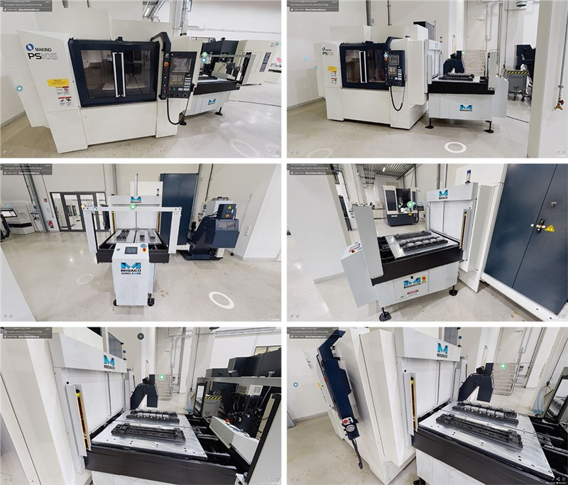 Image showing 6 views of Midaco Automatic Pallet Changer on MAKINO PS101 vertical machining center in MAKINO  SHowroom